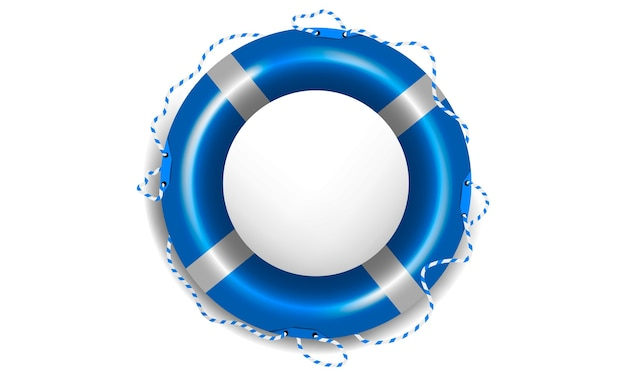 Realistic blue lifebuoy on white isolated background with rope