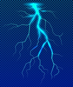 파란색 배경에 현실적인 파란색 번개