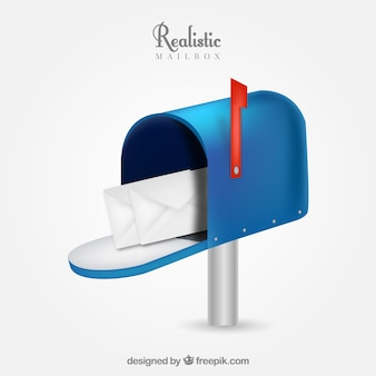 Realistic blue mailbox
