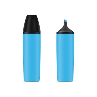 リアルな青いマーカー。孤立した事務用品カラフルな蛍光ペン。