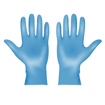 Realistic blue medical latex protective gloves