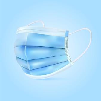 Реалистичная голубая медицинская маска