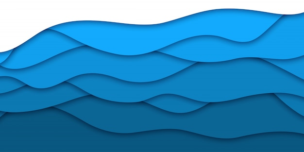 Realistic  blue paper cut layer background for decoration and covering. concept of geometric abstract .