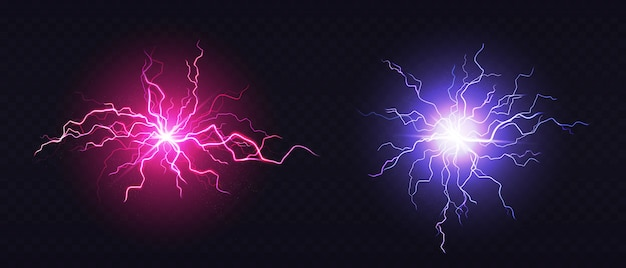 Realistic blue and pink lightning balls