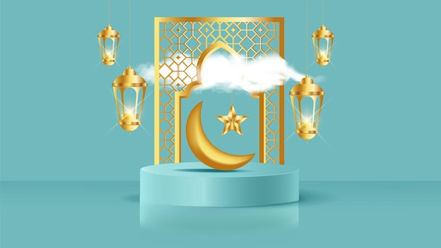 Realistic blue product podium with golden frame arch and clouds