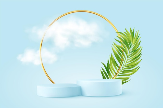 Realistic blue product podium with golden round arch, plm leaf and clouds