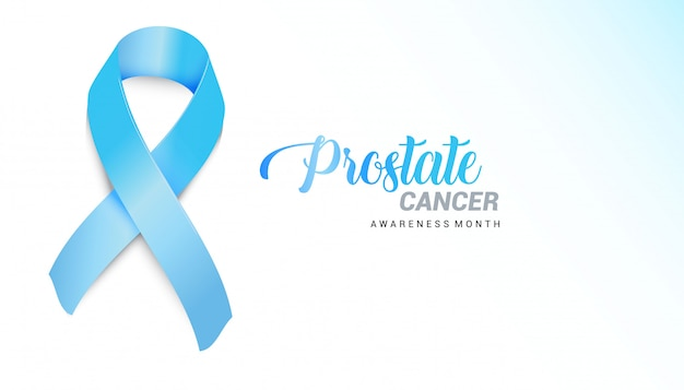 Realistic blue ribbon. prostate cancer november awareness month poster for social solidarity campaign.