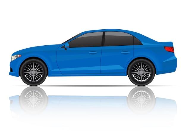 リアルな青いセダン車の側面図。