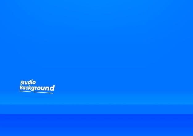 스튜디오 벽에 현실적인 파란색 선반입니다. 제품 표시를위한 빈 스튜디오 파란색 배경입니다.