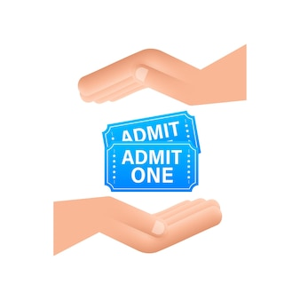 Realistic blue show ticket hanging over hands. old premium cinema entrance tickets.