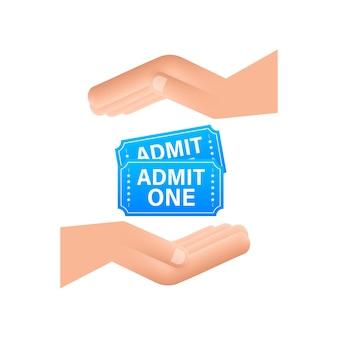 手にぶら下がっているリアルな青いショーチケット。古いプレミアムシネマ入場券。