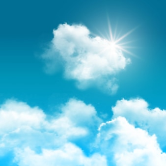 Realistic blue sky with clouds composition rays of sun peek out from behind the clouds