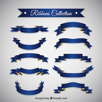 Realistic blue vintage ribbons