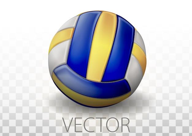 투명 한 배경에 고립 된 현실적인 파란색, 노란색 및 흰색 색상 배구 공. 팀 게임의 벡터 일러스트 레이 션을 위한 스포츠 장비