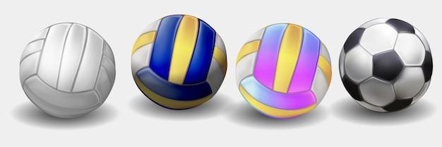 현실적인 파란색, 노란색 및 흰색 색상 배구 공입니다. 격리 된 벡터입니다. 투명 한 배경에 고립 된 현실적인 흰색 배구 공입니다. 팀 게임의 벡터 일러스트 레이 션을 위한 스포츠 장비