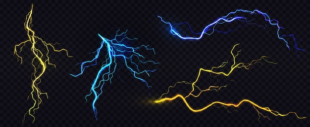 Realistic blue and yellow lightning bolts