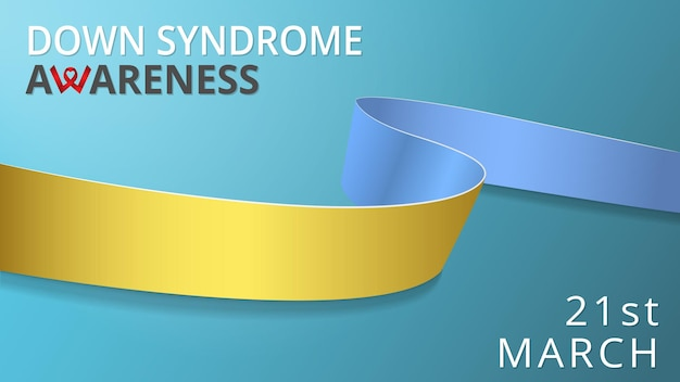Realistic blue and yellow ribbon. awareness down syndrome month poster. vector illustration. world down syndrome day solidarity concept. 21st of march. blue background.