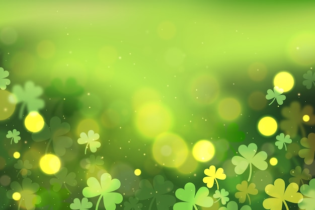 Realistic blurred clover st. patrick's day background