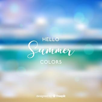Realistic blurred hello summer background