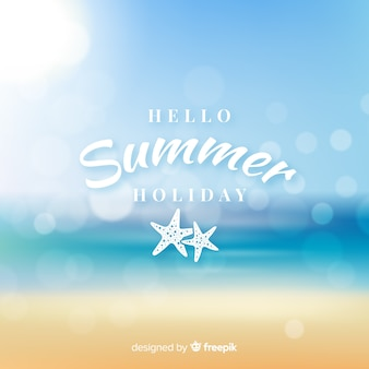 Realistic blurred hello summer background