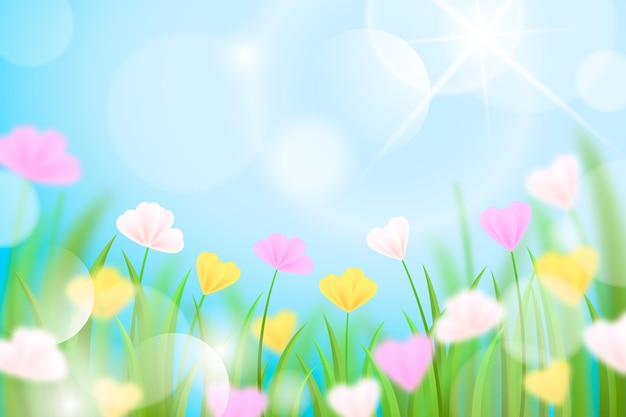 Realistic blurred spring background