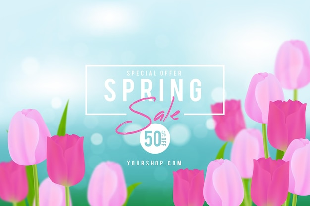 Realistic blurred spring sale illustration