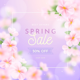 Realistic blurred spring sale illustration