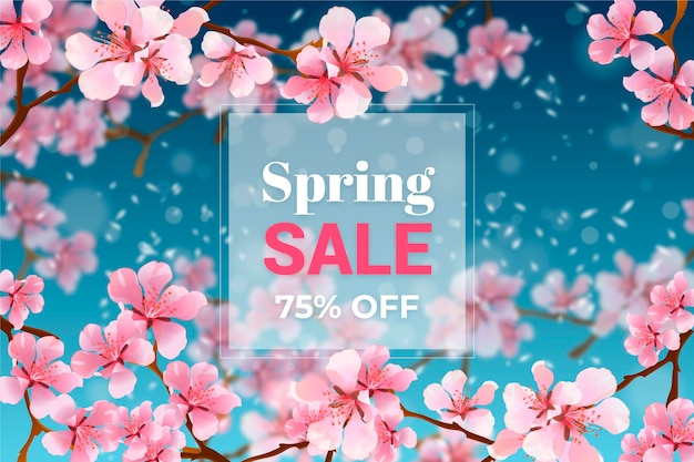 Realistic blurred spring sale promo