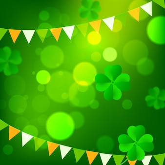 Realistic blurred st. patrick's day elements
