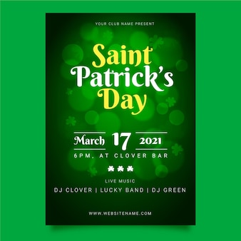 Realistic blurred st. patrick's day flyer template