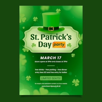 Realistic blurred st. patrick's day poster template