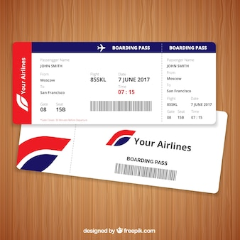 Realistic boarding pass with blue and red details