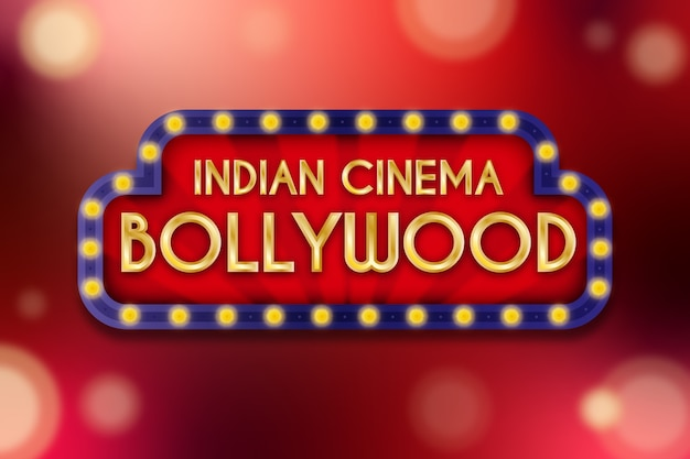 Realistic bollywood cinema sign concept