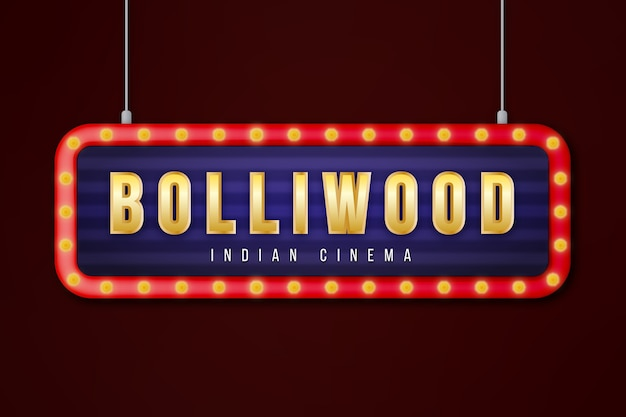 Realistic bollywood cinema sign