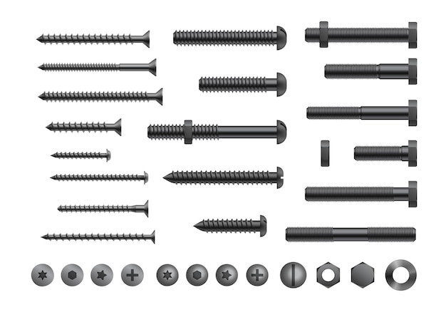 Realistic bolt, screw and nut