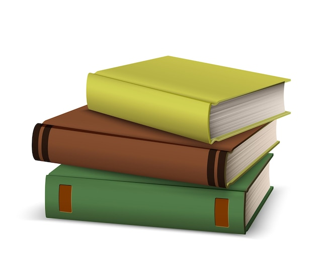 Realistic book stack in hardcover.   diary, book pile, symbol of literature, knowledge and education. online library, bookstore design. school and university symbol.