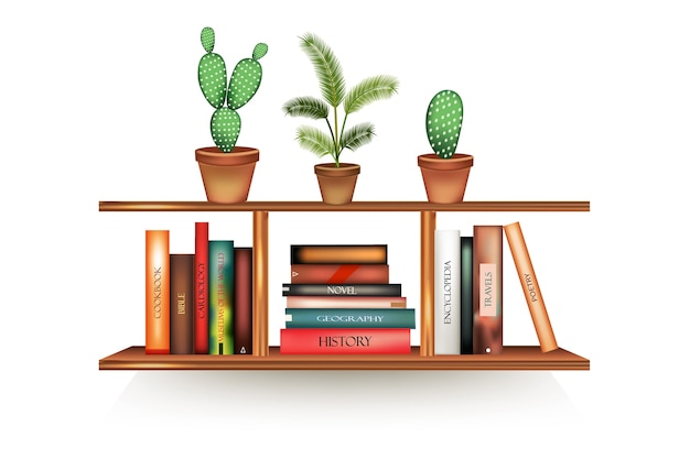 빈 등뼈와 냄비가있는 현실적인 책 볼륨이 벽에 매달려 랙에 줄을 서 있습니다.