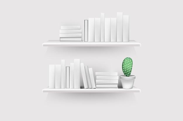 空の棘と鍋の現実的な本のボリュームは、壁に掛けられたラックに並んでいます。