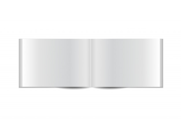 白い背景の上の現実的な小冊子。現実的な紙は、カバー、ブランディング、企業のアイデンティティ、広告用のテンプレートのモックアップです。
