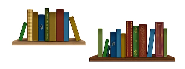 Realistic books and spines collection