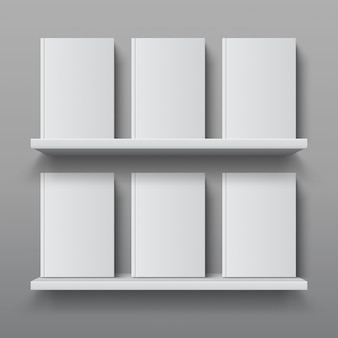 Realistic bookshelf with books. library shelf mockup, modern office bookcase, plywood wall shelf template