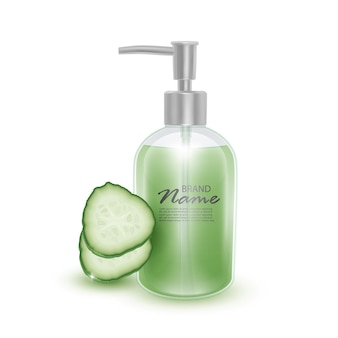 Realistic bottle in 3d with soap pump with juicy cucumber