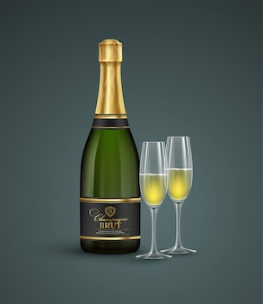 Реалистичная бутылка и бокалы с шампанским
