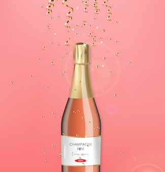 Realistic bottle champagne, rose champagne, gold conffeti, party , anniversary card, happy birthday, celebration background, happy valentine's day  illustration