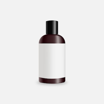 Realistic bottle cosmetic product  . brown glass bottle with blank label  .   template design. realistic   illustration.
