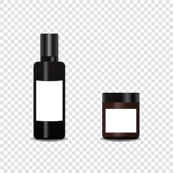 Realistic bottle cosmetic product  set.    on transparent background.