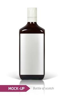Реалистичная бутылка виски на белом фоне с отражением и тенью