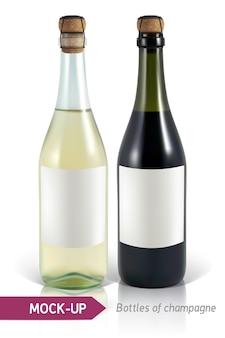 Реалистичные бутылки шампанского на белом фоне с отражением и тенью. шаблон для этикетки.
