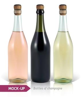 Реалистичные бутылки шампанского на белом фоне