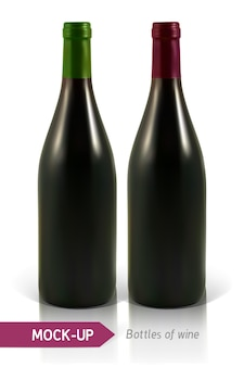 Realistic bottles of white and red wine   with reflection and shadow. template for wine label design.